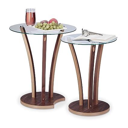 Relaxdays 10021247 Set Tavolini da Salotto Sovrapponibili, Marrone, 50 x 50 x 57.5 cm