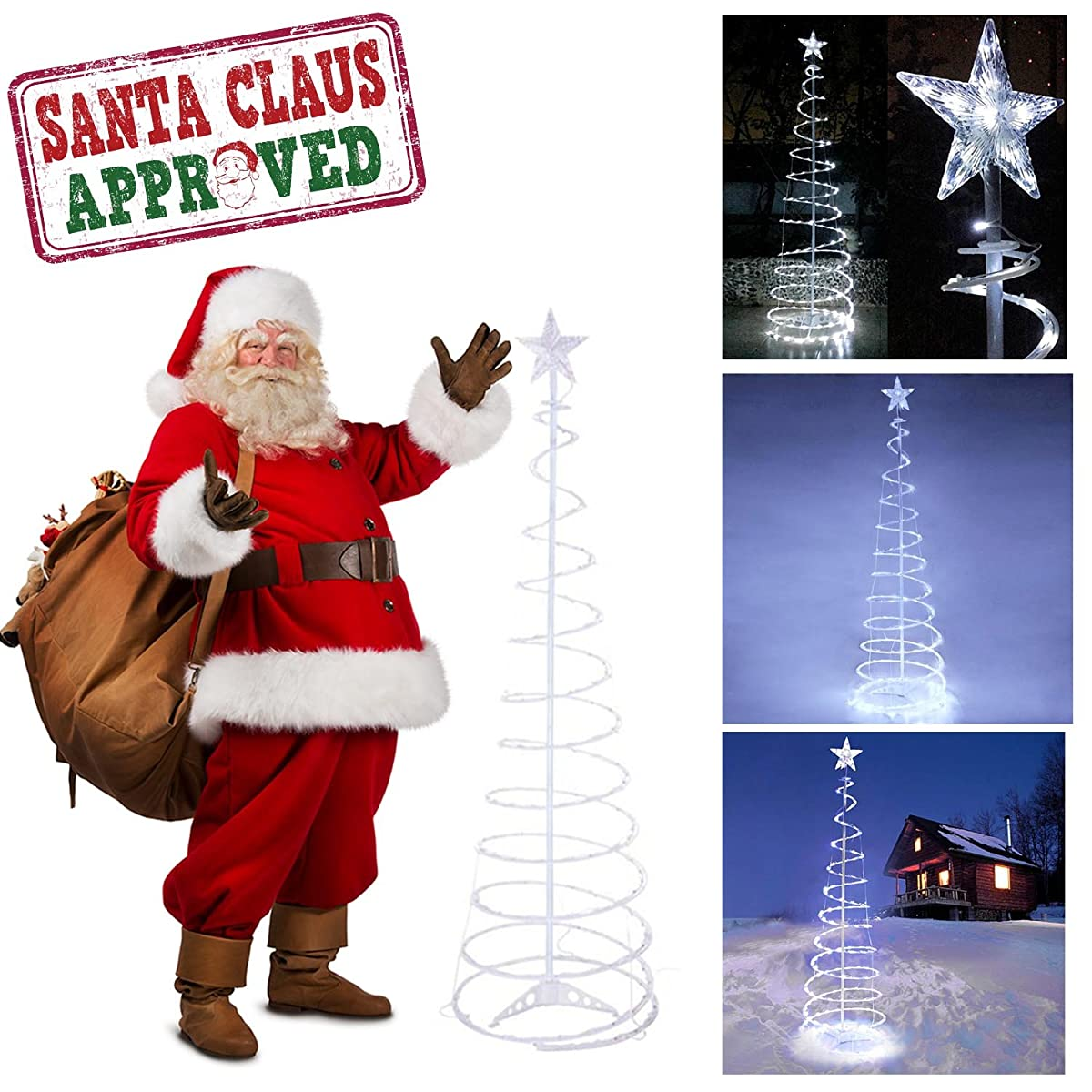 gc global direct 6ft5ft clear led lighted spiral christmas tree color option 6ft - Spiral Christmas Tree Lighted