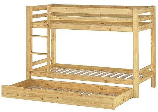 Letto castello 90x200 per bambini divisibile con assi di legno e cassettone letto 60.09-09 S7