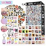 BTS Gifts Set for ARMY - 63 Pack Cartoon Stickers, 40 Pack BTS Postcards, 12 Sheet BTS Stickers, 2 BTS Tatoo Stickers/Button Pins, 1 BTS Lanyard Keychain/Phone Ring/ARMY Keychain/BTS 3D Stickers (Color: Yellow)