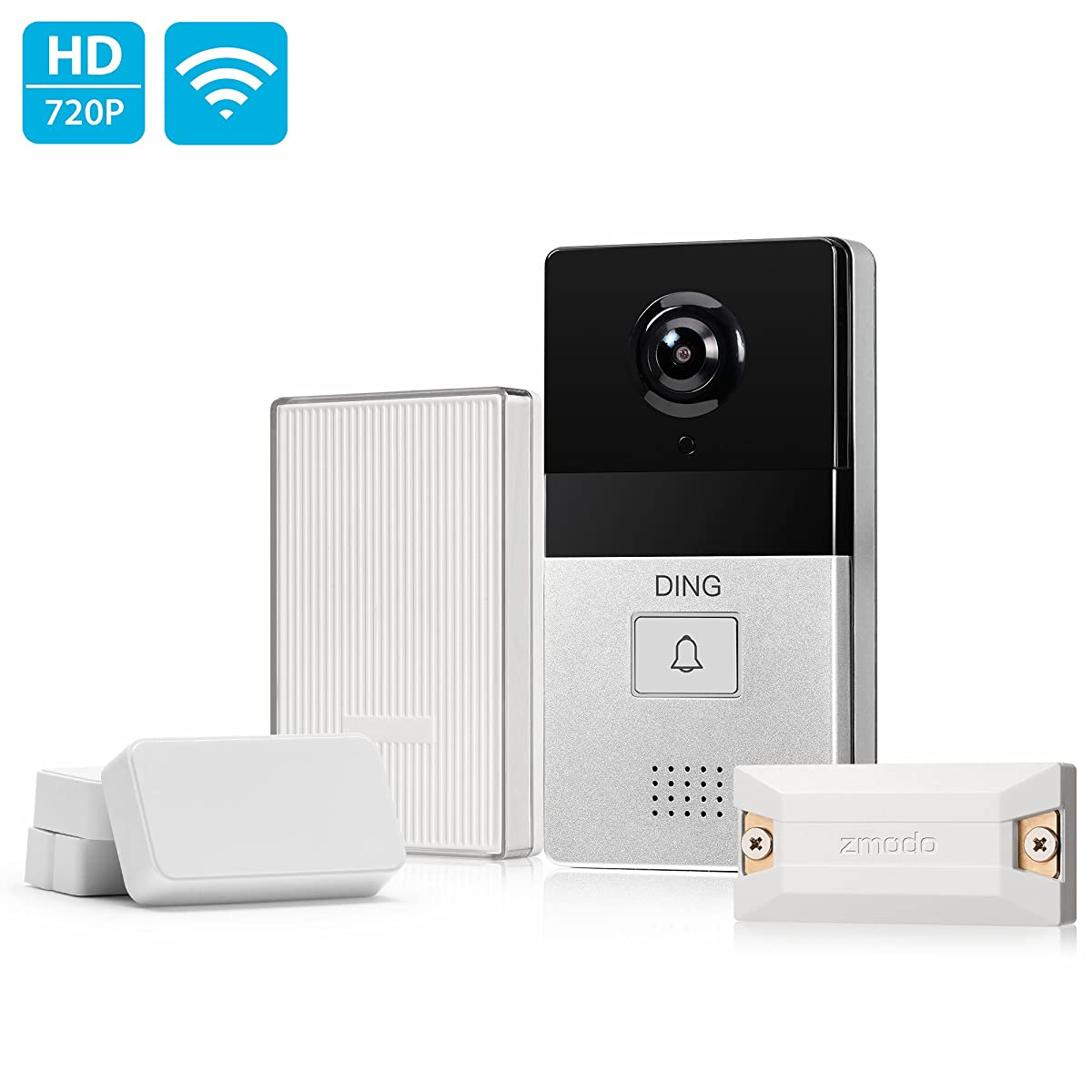DING WiFi Enabled Video Doorbell Package with Smart Home Hub and WiFi Extender, 2 Pack Door/Window Sensors - Cloud Service Available