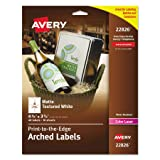 Avery Print - To - The - Edge Arched Labels, Matte Textured White, 4.75 x 3.5 Inches, 40 Labels (22826)