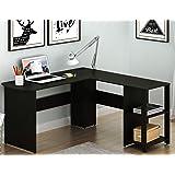 SHW L-Shaped Home Office Corner Desk Wood Top, Espresso (Color: Espresso)