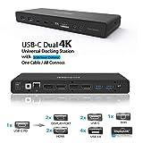 USB C Dual 4K Dock w/ 100W Power Adapter: Single 5K@60Hz, Dual Display 4K@60Hz, 2 HDMI, 2 DisplayPort, 4 USB A 3.0, 2 Type C, Ethernet, Audio Mic Jack for Mac OS & Window PC (Thunderbolt 3 Compatible) (Color: Black)