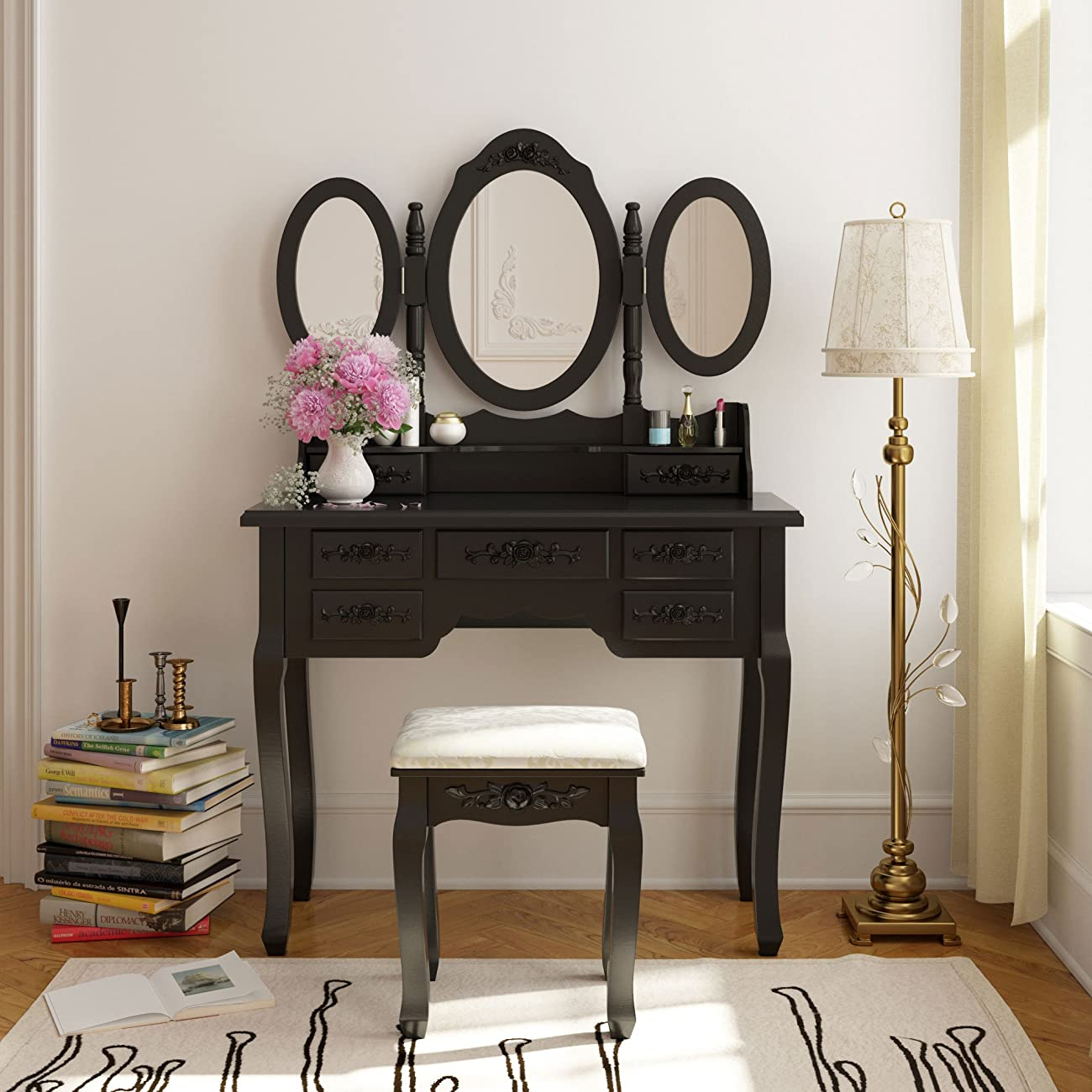 Tribesigns Vanity Makeup Table Set With Stool And Mirror