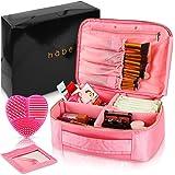 habe Travel Makeup Bag with Mirror - Premium Vegan Designer Make Up Bag Organizer Train Case for Women – More Storage than 3 Cosmetic Bags, Make Up Bags or Make Up Cases (BONUS Brush Cleaner) - Pink (Color: Pink, Tamaño: Large)