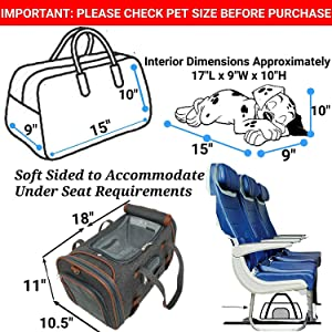 Mr. Peanut's Airline Approved Soft Sided Pet Carrier, Low Profile Gold Series Tote, Premium Brand Self Locking Zippers, Under Seat Compatibility, Plush Faux Fleece Bedding with a Sturdy Plywood Base (Color: Platinum Gray, Tamaño: Medium)