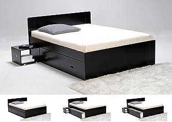 Bmd - Lit DAKAR 140 x 190 laqué noir 2 chevets, 2 tiroirs