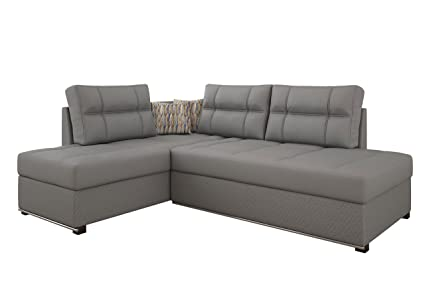 RUBI E - ECKSOFA / Sofa mit Schlaffunktion und Bettkasten (Leo Elephant 12 / Leo plus 12, Stoff)