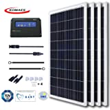 KOMAES 400 Watts 12Volts Polycrystalline Solar Panel With Energy-efficient Tech Kit Includes 20Amp PWM Solar Charge Controller, 20ft Tray Cable, 20ft MC4 Cable, Branch Connector, Mounting Z Brackets (Tamaño: 4 pcs PWM kits)