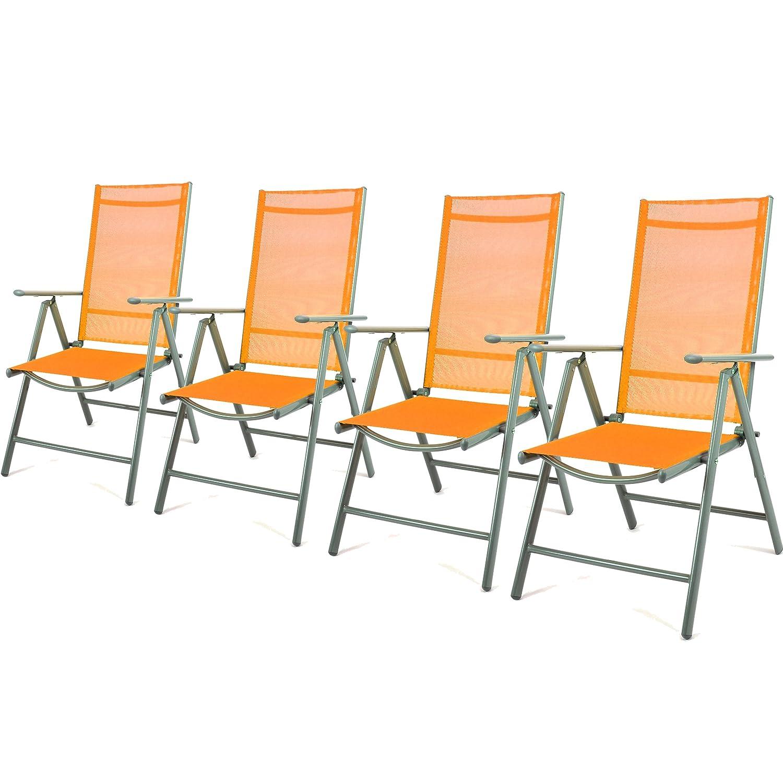 4er Set Klappstuhl Gartenstuhl Alu Campingstuhl verstellbar orange hochlehnig günstig kaufen