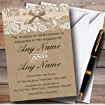 Vintage Burlap & Lace Personalized Wedding Invitations