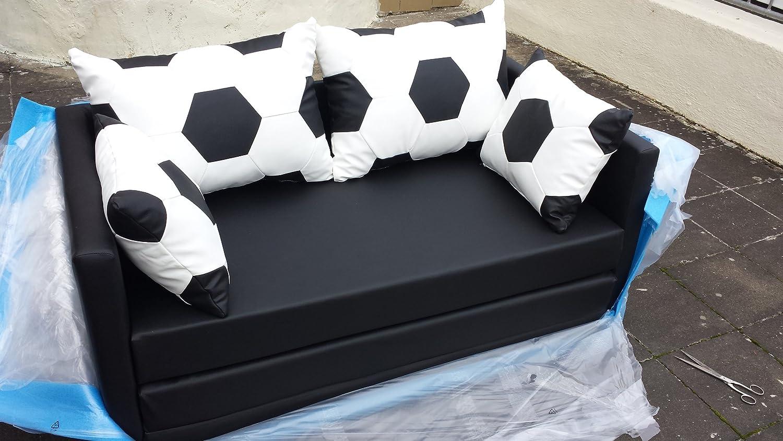 Schlafsofa Couch Sofa Fussball Look weiss schwarz kaufen
