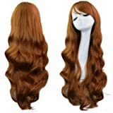 Rbenxia Curly Cosplay Wig Long Hair Heat Resistant Spiral Costume Wigs Anime Fashion Wavy Curly Cosplay Daily Party Brown 32