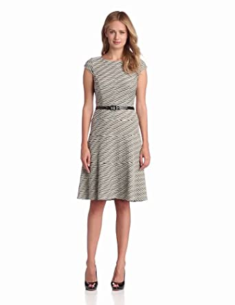 Anne Klein Women's Textured Wave Swing Dress, Black/Sand, 6