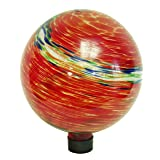 Echo Valley 8155 10-Inch Glow-in-the-Dark Illuminarie Glass Gazing Globe, Red Swirl