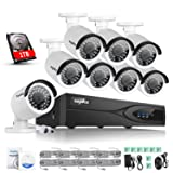 SANNCE 8 CH 1080P POE NVR Security Camera System with 1TB Surveillance Hard Drive and (8) 1920TVL 2.0MP Indoor/ Outdoor Weatherproof Bullet IP Camera, Scan QR Code Quick Remote Access)
