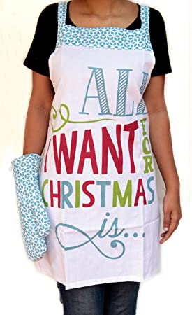 Blue Alcove All I Want Cotton Apron and Glove Set - White at amazon