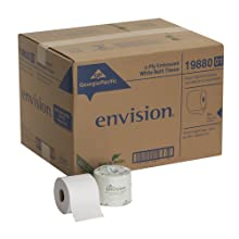 "Georgia-Pacific Envision 19880/01 White 2-Ply Embossed Bathroom Tissue, 4.05"" Length x 4"" Width (Case of 80 Rolls)"