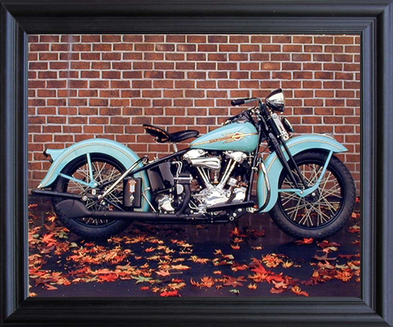 1938 Aqua Harley Davidson Ron Kimball Vintage Motorcycle Wall Black Framed Art Print Picture (19x23) 0