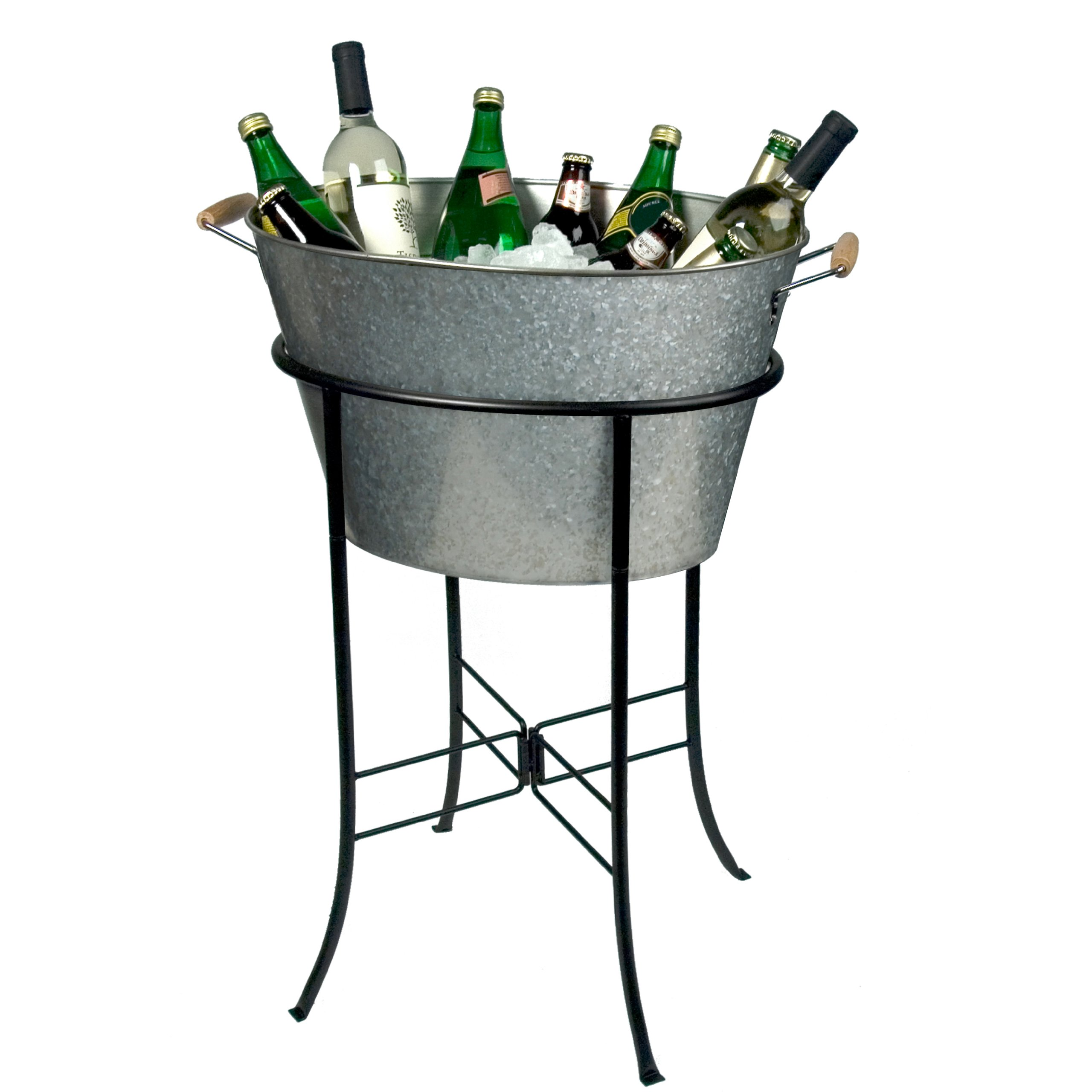 Galvanized Tub Stand Ice Bucket Beverage Cooler Party Wine