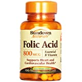 Sundown, Folic Acid 800 Mcg Tablets, 100 ct