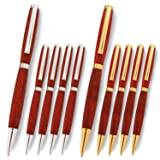 Legacy Woodturning, Slimline Pen Kit, Many Finishes, Multi-Packs (Color: 5 Gold and 5 Silver)