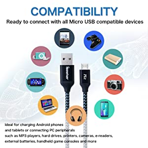 iSeekerKit Short Micro USB Cable 1Ft Nylon Braided Fast USB Charging Cord Compatible for External Battery Charger, Samsung, HTC, LG, Android and More [3 Pack] (Color: Black, Tamaño: 1 Feet)