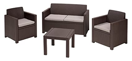 Allibert Lounge Set Rattan, Alabama, Braun, 4-teiliges Lounge Set in Rattanoptik