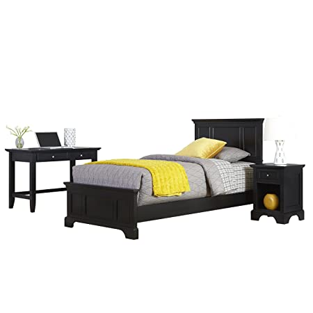 Home Styles 5531-4026 Bedford Twin Bed, Night Stand and Student Desk, Black