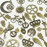 AuroTrends 100pcs Mixed Charms Pendants Cross?tree of Life, keys,hearts,crescent,sun, crown,leaves DIY for Jewelry Making and Crafting(Antique Bronze)