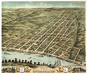 Panoramic map of Clarksville, Tennessee