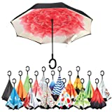 Sharpty Inverted Umbrella, Umbrella Windproof, Reverse Umbrella, Umbrellas for Women with UV Protection, Upside Down Umbrella With C-Shaped Handle (Red Lotus) (Color: Red Lotus)