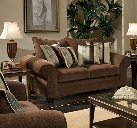 Chelsea Home Furniture Clearlake Loveseat, Masterpiece Chocolate/Kendu Onyx Pillows(2)