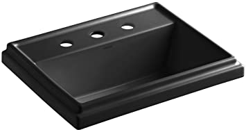 KOHLER K-2991-8-7 Tresham Rectangular Self-Rimming Bathroom Sink with 8-Inch Widespread Faucet Drilling, Black