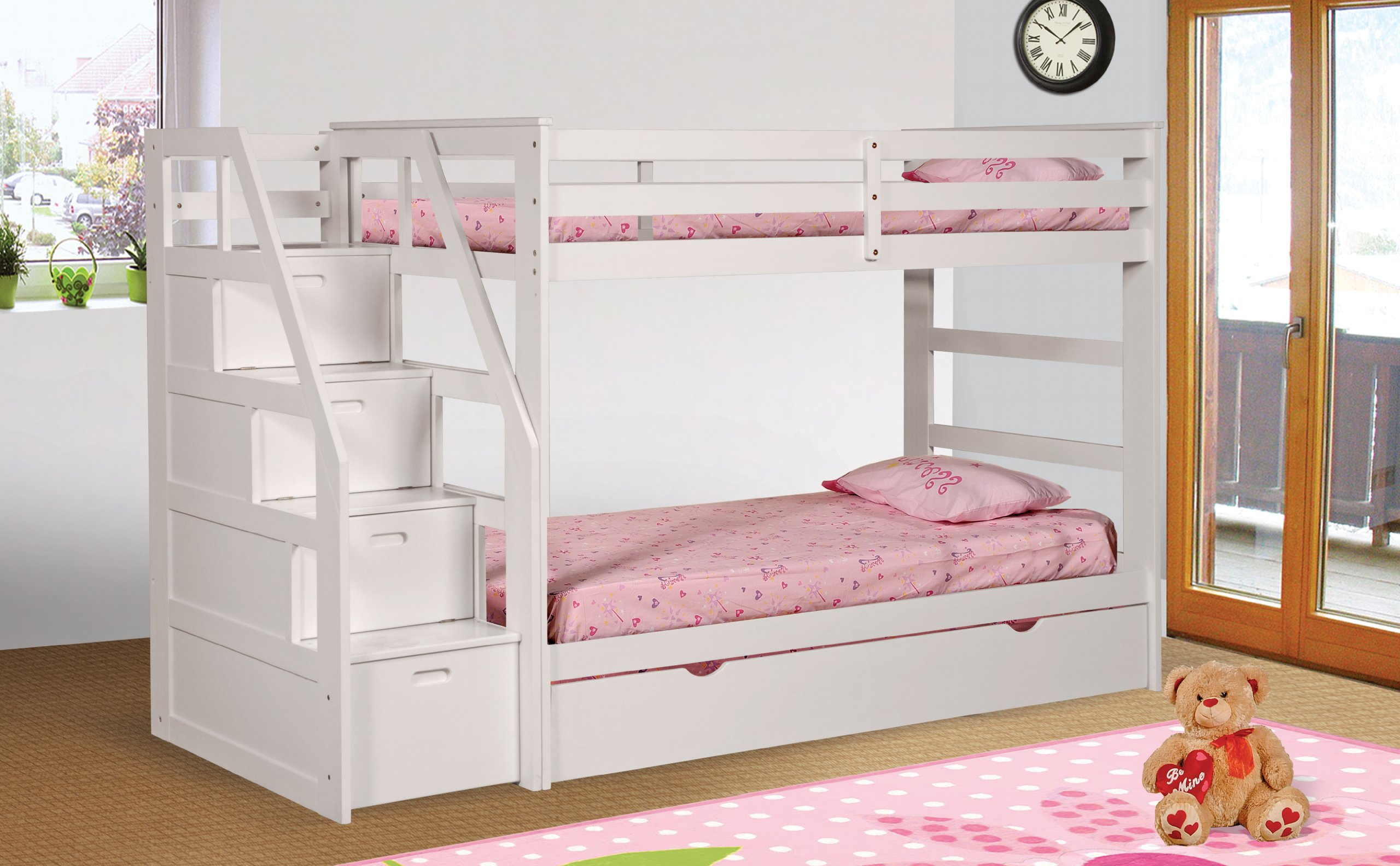 Twin Twin Bunk Bed With Twin Trundle Amp Drawer Steps White