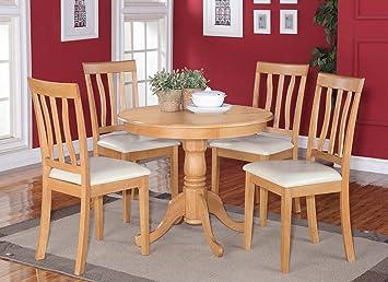 East West Furniture ANTI5-OAK-LC 5-Piece Kitchen Table Set, Oak Finish