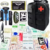 EVERLIT 250 Pieces Survival First Aid Kit IFAK Molle System Compatible Outdoor Gear Emergency Kits Trauma Bag for Camping Boat Hunting Hiking Home Car Earthquake and Adventures (Black) (Color: Black)