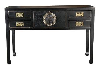 """Sit-Möbel 1835-11 consola """"Chinese"""", 120 x 40 x 82 cm, con el diseño de la dinastía Ming, de álamo maciza lacada en negro"""