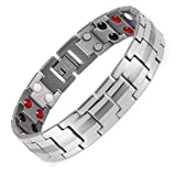 Men Stainless Steel Magnetic Therapy Bracelet For Men Pain Relief for Arthritis and Carpal Tunnel.Magnets, far infrared, germanium, negative Ion four elements( double magnets) (Color: Silver)