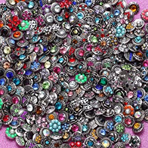 RoyalBeier Mixed Lot Multi Color Rhinestone Metal Button Charms 12mm Snap Button for Snap Jewelry HM008 (50pcs) (Color: 50 PCS, Tamaño: 50pcs)