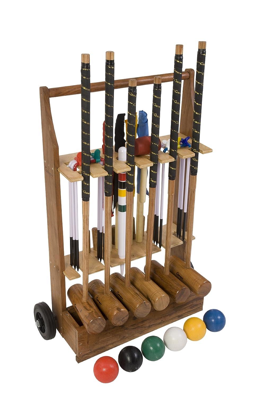 Übergames ECO Hartholz Extrem hochwertiges Pro Croquet / Krocket Set für Fortgeschrittene  – für 6 Pers. mit Rollwagen / Trolley günstig online kaufen