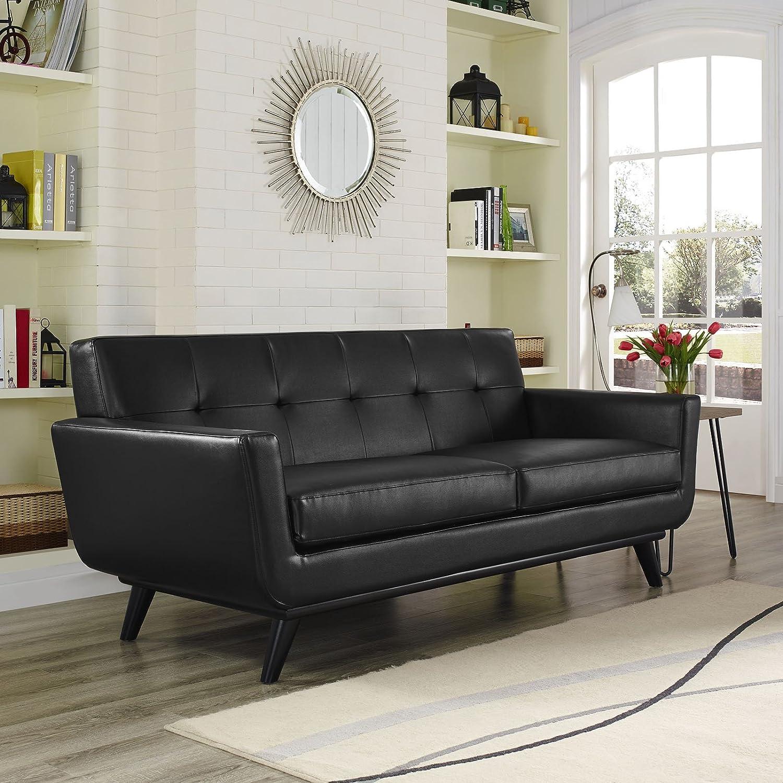 Engage Leather Loveseat - Black