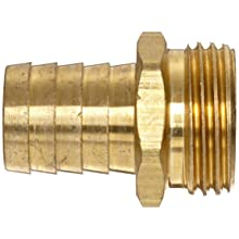 Anderson Metals Brass Garden Hose Fitting, Connector, Barb x GHT Male