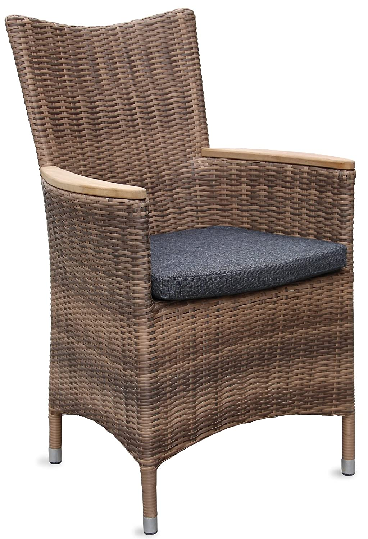 Hochwertiger Polyrattan Gartenstuhl mit Teakarmlehnen Teak Sessel Rattan Stuhl Gartenstühle Gartenmöbel jetzt kaufen