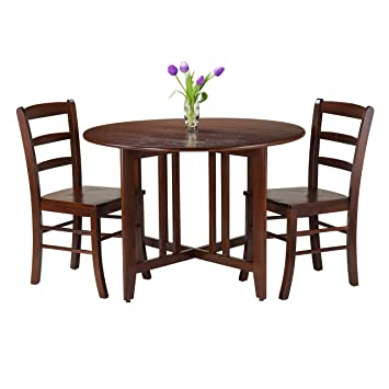 Winsome 3-Piece Alamo Round Drop Leaf Table with 2 Ladder Back Chairs, Brown