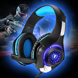 Cocar Gaming Headset, Bass Enhanced Headphone for Playstation PS4 PSP Xbox One Tablet iOS iPad Smartphone Free Adapter Cable for PC with Mic Noise Cancelling Black,  GM-1 Blue (Color: GM-1 Blue)