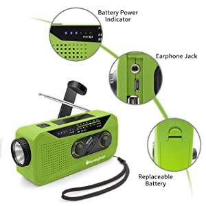 Emergency NOAA Weather Crank Solar Powered Portable Radio with 2000mAh Battery Power for Cell Phone, Bright Flashlight for Household Emergency and Outdoor Survival (Green) (Color: Green)