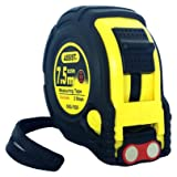 ASSIST-Tape Measure 25 ft by 1 inch with Metric markings included Magnetic Hook Belt Clip and Rubber Case Professional Quality (Color: Yellow-Black)