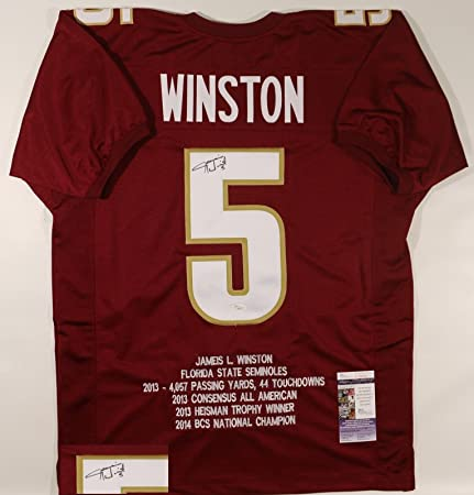 Autographed/Signed Jameis Winston Maroon Florida State Seminoles Stat Custom Jersey JSA COA
